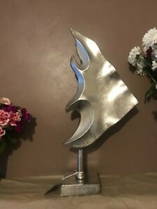 Large Silver Triangular Aluminium Fish Decoration 50cm Sculpture Ornament