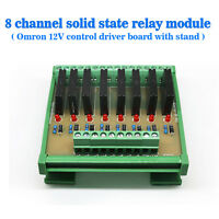 Eight Channels Solid-State Relay Module Control Panel Socket DC 12V NPN