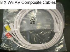 8 pc Wholesale Lot Original WII Composite AV Cable High Quality US Seller 6 foot