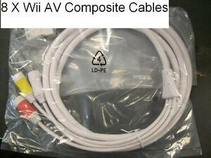 8 pc Wholesale Lot Original Nintendo WII Composite AV Cable High Quality  6 foot