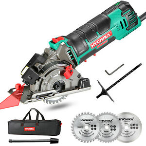 Mini Circular Saw, HYCHIKA Compact Circular Saw Power Tool with 3 Saw Blades 4A