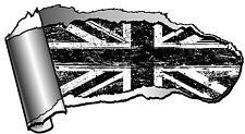 LARGE Ripped Open GASH Rip Torn Metal B&W Union Jack Flag Car Sticker Mod Rocker