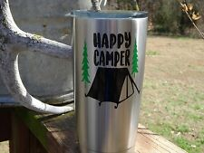 Custom Happy Camper Vinyl Decal for Stainless Tumblers, Coffee Travel Cups, Mugs