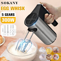 SOKANY 5 Speed Electric Handheld Mixer Whisk Egg Beater Blender Cake Baking 300W