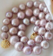 7-8mm Genuine Natural Lavender Akoya Cultured Pearl Necklace GP Magnet Clasp