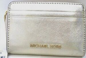 Michael Kors Money Pieces Card Case Pale Gold Metallic Zip Around Small Wallet