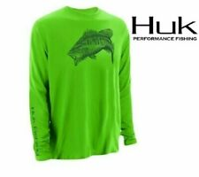 Huk Performance Large Mouth Bass Logo Long Sleeve Neon Green Fishing Shirt XL