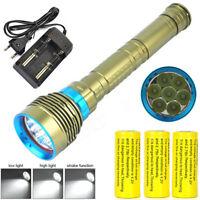 30000LM 7xXM-L2 LED Scuba Diving Underwater 200m Flashlight Torch+ CH + 3X26650