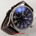 44mm parnis black dial seagull hand winding 6497 mechanical mens watch P647