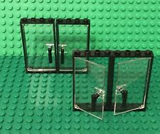 Lego X4 Trans-clear Glass Door W/ Black Frame 1x4x6 W/ Nozzle Handle Holder Part
