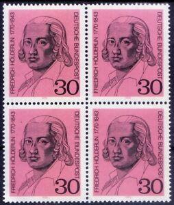 Friedrich Holderlin, Poet, Artistic movement Romanticism, Germany 1970 MNH Blk