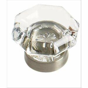 "1-1/4"" Glass Geometric Cabinet Knob *Clear/Satin Nickel* Art Deco *Set of 10*"