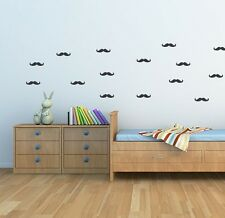 Moustache design wall decal stickers . Set of 48 Wall Decals 70mm wide