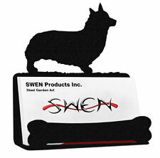Swen Products Welsh Corgi Pembroke Dog Black Metal Business Card Holder