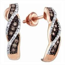 Diamond J Hoops 10K Rose Gold Chocolate Brown & White Diamond Earrings .21ct