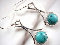 Turquoise Globe Earrings Arched Stem 925 Sterling Silver Dangle Drop Round New