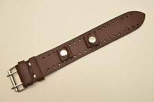 Brown wide Leather Watch Band STRAP Buckle Punk Rock Skaters cuff 18mm Bikers