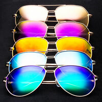 29c950ebfd Big Mirror Lens Large Gold Metal Frame PILOT Sunglasses Fashion Square Side  q