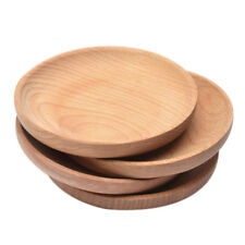 12 cm Round Wooden Plate Breakfast Food Snack Serving Tray Salad Bowl Platter