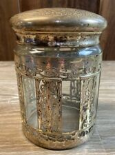 """Antique Glass And """"German Silver"""" Wrapped Tobacco Jar Humidor"""