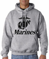 MARINES HOODIE GRAY Usmc Us Hooded Sweatshirt Military Marine Corps Semper Fi US