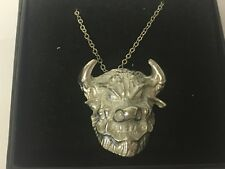 """Monster Devil Demon GT186 Pewter On 16"""" Silver Plated Curb Necklace"""