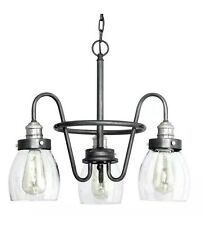 3-Light Rustic Pewter Chandelier with Brushed Nickel Accents Clear Seeded Glass