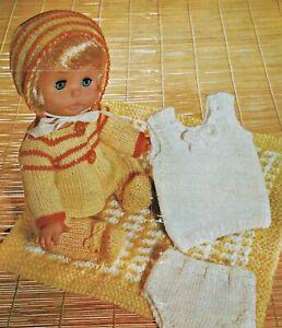"""Baby Dolls Clothes Knitting Pattern DK 12 & 14"""" Matinee Set, Undies & Pram Rug"""