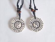 A Faux Yak Bone White Chinese Feng Shui Bagua Yin Yang Tai Chi Pendant Necklace