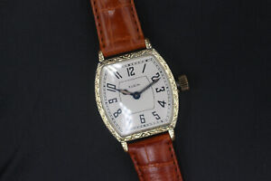 1920 Elgin Engraved Barrel Shaped Case Men's Art Deco Vintage Watch