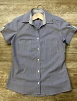 Vintage Style Women's Navy Cotton Short Sleeved Cotton Gingham Petite Fit Shirt