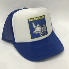 Michelin Man Tire Trucker Hat Vintage Snapback Mesh Cap Blue Badge Running Logo