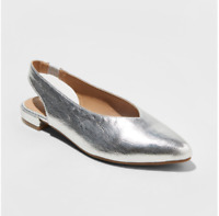 A New Day Women's Nicka Metallic Sling Back Pointed Toe Ballet Flats, Silver
