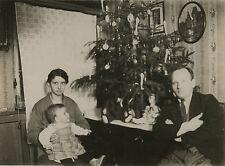 PHOTO ANCIENNE - VINTAGE SNAPSHOT - SAPIN DE NOËL FAMILLE OURS PELUCHE-CHRISTMAS