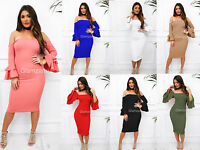 Glamzam Womens Ladies New Bardot Ruffle Frill Sleeve Bodycon Peasant Dress