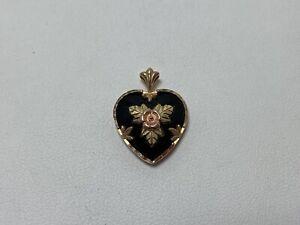 Black Hills Gold 10K Yellow Gold Onyx Heart Pendant Rose Flower