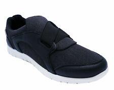 Mens Black Dunlop Slip-On Memory Foam Shoes Elastic Casual Sports Trainers 7-11