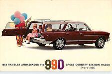 1963 Rambler Ambassador Station Wagon Automobile Advertising Postcard