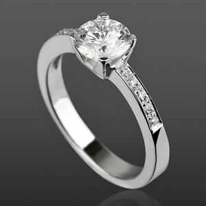 14K WHITE GOLD DIAMOND SOLITAIRE & ACCENTS RING GENUINE SI1 D WOMEN NEW 4 PRONG