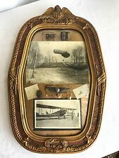 Antique WW1 Balloon Pilot Observer US & German Photographs Silver Pins In Frame