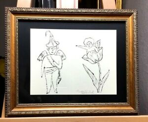 """Andy Warhol """"Two Cupids"""" Lithograph Hand Signed 1955 COA """"Two Angels"""" Framed"""