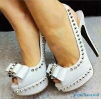 Women's Party Rivet Bowknot Shoes High Heel Leather Platform Open Toe Slingbacks