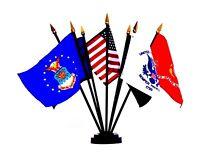 "US Military Desk Flag Set 4""x6"" Flags Flag ( Each Armed Service + USA + POWMIA )"
