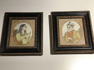 PAIR of Early 19th Century Indian Miniature Hand Painted Portraits