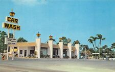 St Petersburg FL Sauers Car Wash and Gas Station Postcard