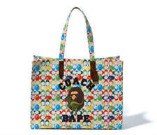 A BATHING APE and Coach Tote Signature Canvas With Ape Head F/S from JAPAN