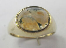 Antique Victorian 9ct Gold Scottish Celtic Moss Agate Cabochon Ring Size K 1897