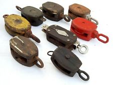 Lot of 8 pcs Vintage Maritime Large Wooden Pulley Barn Iron Hook Block Tackle