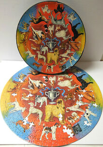 Vintage 1966 SPRINGBOK Round Prize Dogs 500 PIECE PUZZLE #2020 NOT COMPLETE ASIS