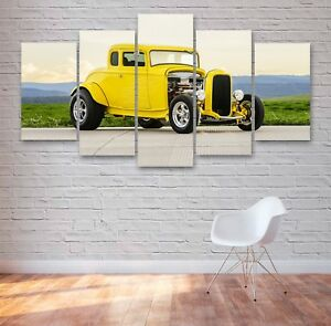 Yellow Hotrod Classic 5 Panel Canvas, 5 Piece Wall Art, Multi Panel Canvas #026